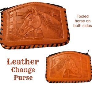 Horse tooled leather change purse EUC